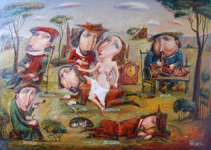 Семь смертных грехов. 2010 год. Автор: Геннадий Шлыков.<br>Для справки (с итальянского):<br>superbia - надменность<br>ira - гнев<br>luxunia - сладострастие<br>gula - прожорливость<br>invidia - зависть<br>accidia - ленность.