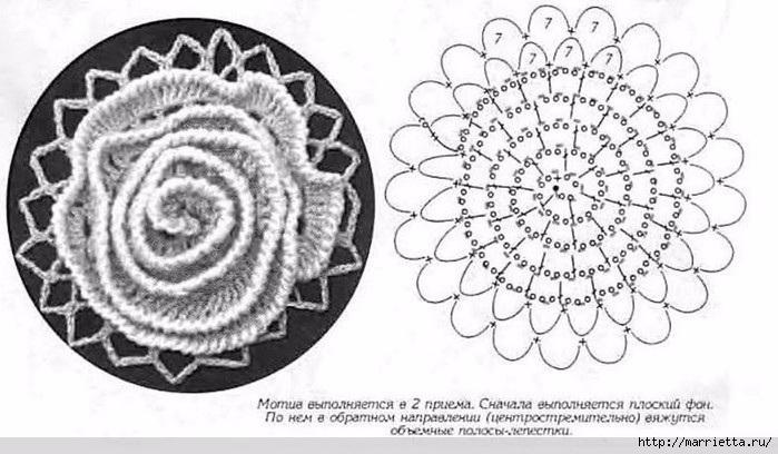 Кардиган крючком «Розовый сад». Схемы мотивов (4) (699x408, 171Kb)