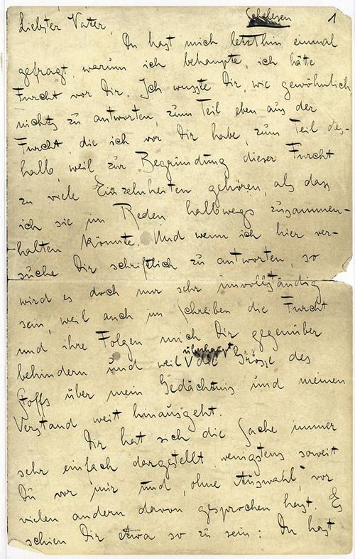 Первая страница письма Кафки к Отцу