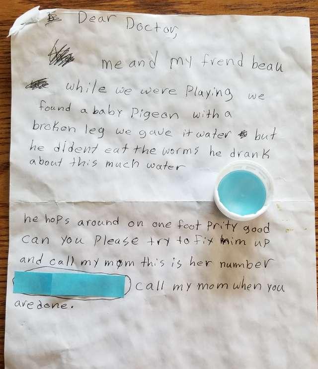 записка детским почерком