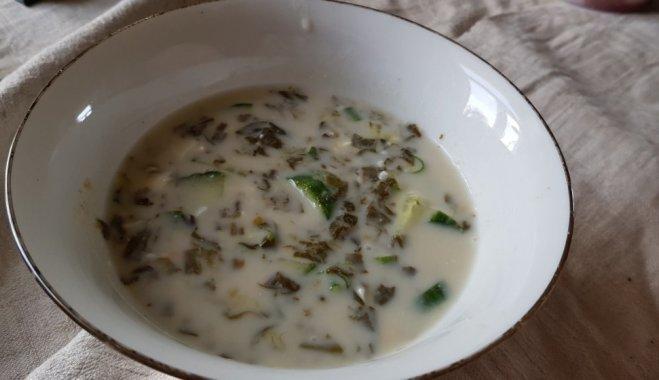 Постный щавелевый холодный суп
