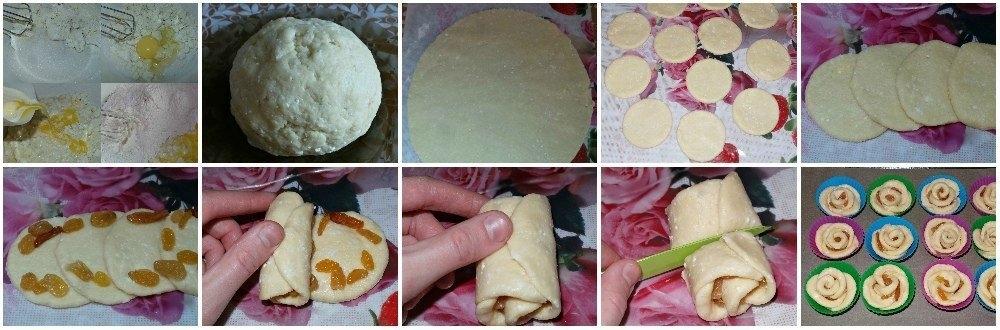Фото к рецепту: Творожное-мини булочки с изюмом Розочки