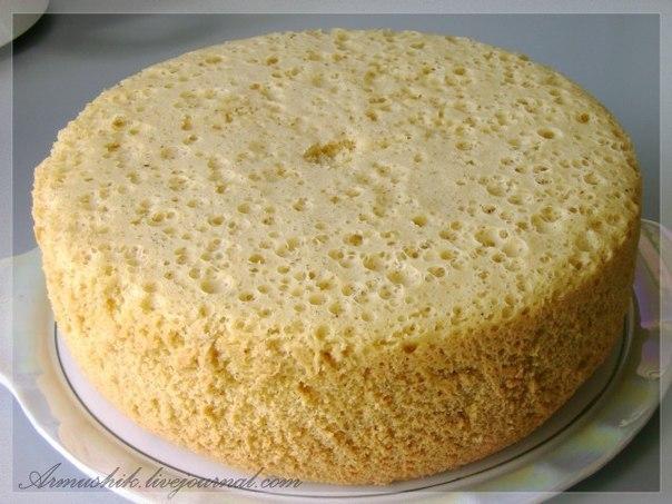 Высокий, нежный бисквит для торта (Без духовки)