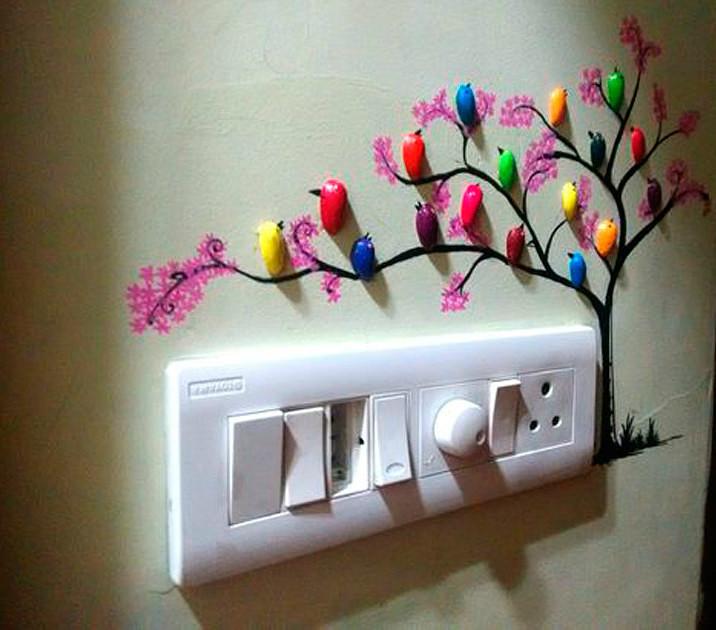 Такая оригинальная идея для декора стен. Захотелось поделиться, может кто-то тоже захочет сделать.
