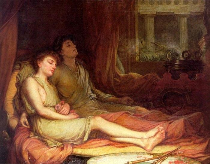 Сон и его сводный брат Смерть. (1874). Автор: Джон Уильям Уотерхаус.