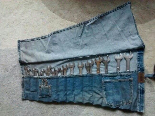 Как из старых джинсов сшить простой чехол для инструментов новая жизнь старых вещей,органайзер,шитье