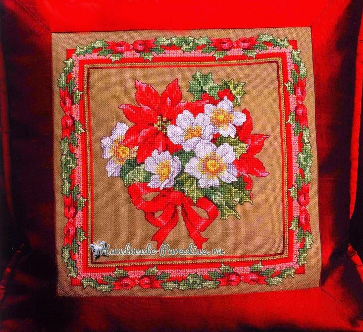 Вышивка крестом — подушка с рождественскими звездами