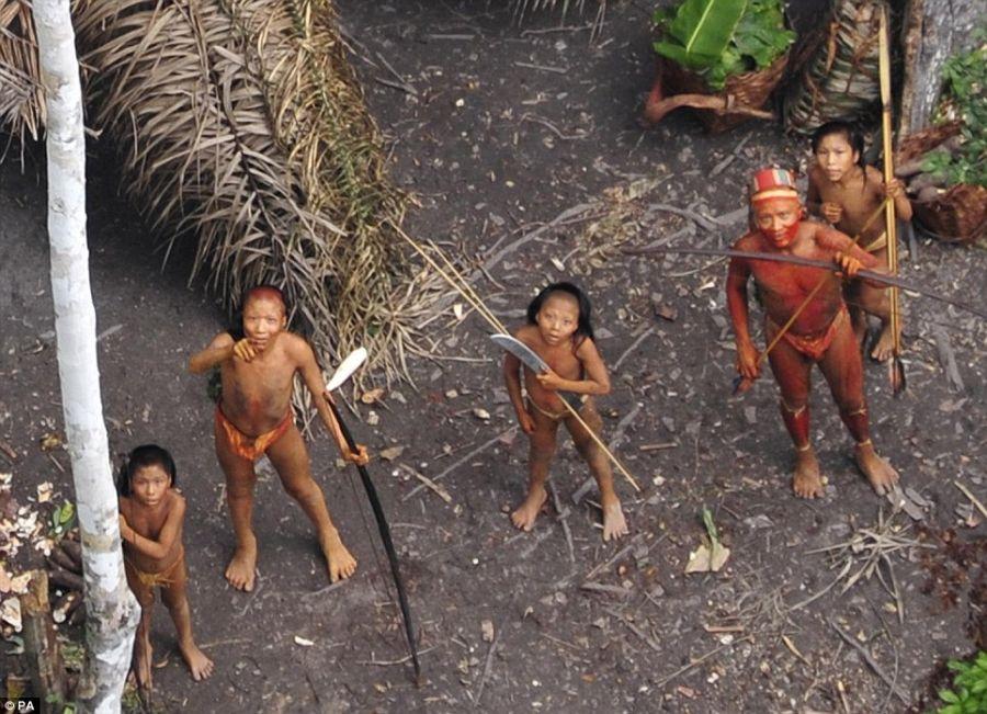 В джунглях Амазонки обнаружено дикое племя индейцев