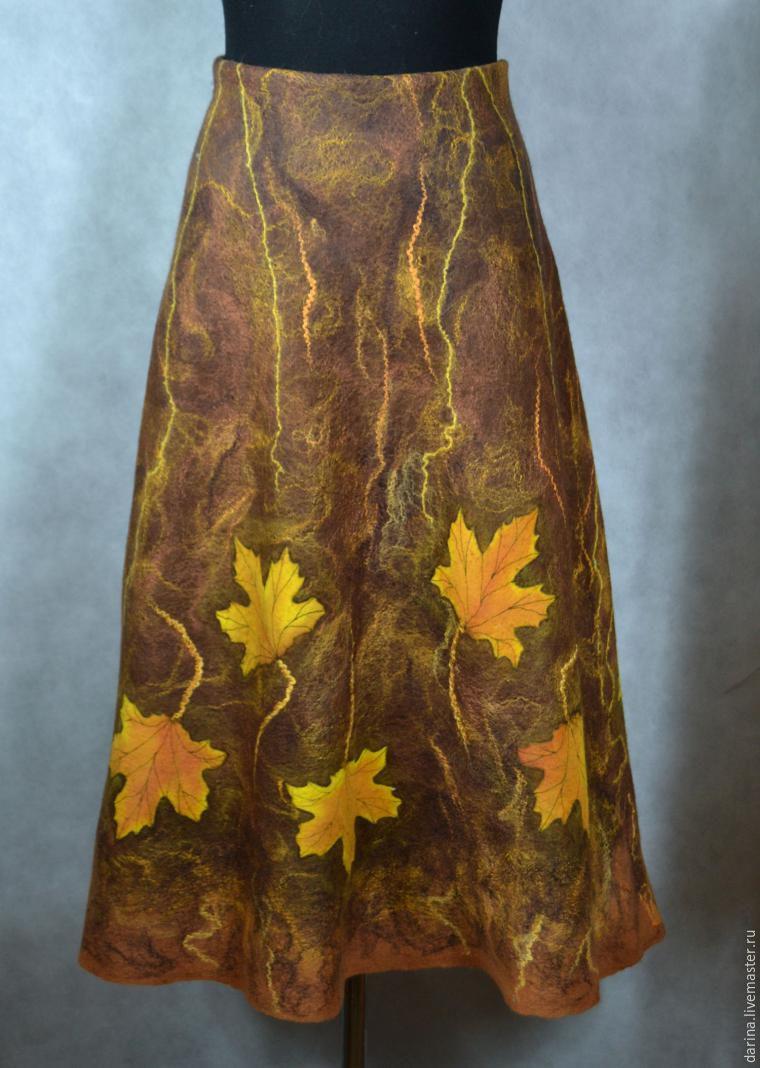 Мастер-класс: как свалять осеннюю юбку с кленовыми листьями