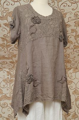 Gorgeous Mocha Brown Linen Tunic Very Quirky Design Italian Lagenlook Top OSFA | eBay: