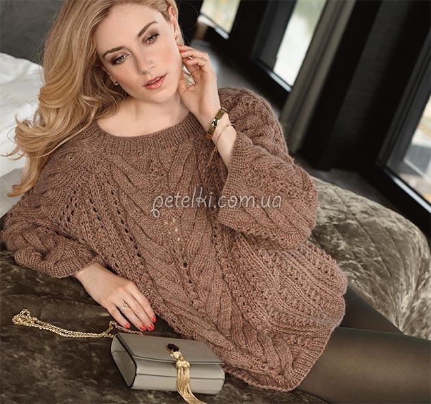 Шикарный объемный пуловер косами
