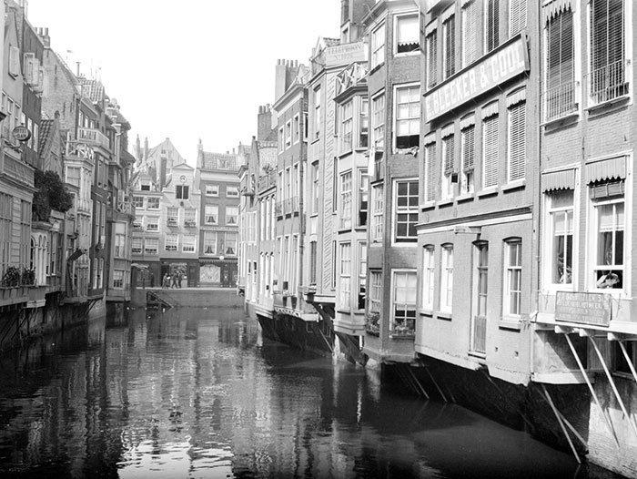 Канал в Роттердаме, Голландия ХХ век, винтаж, восстановленные фотографии, европа, кусочки истории, путешествия, старые снимки, фото