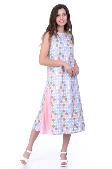 Платье миди Lautus, прямого силуэта, с втачными клиньями из шифона. Шить легко и просто