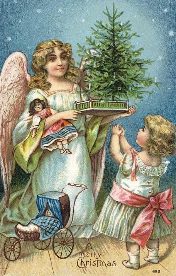 Картинки, антикварные открытки рождество