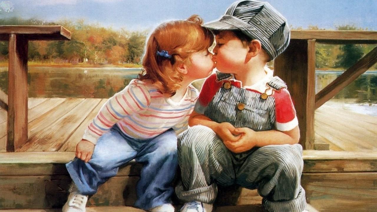 Родилась, первый поцелуй открытка