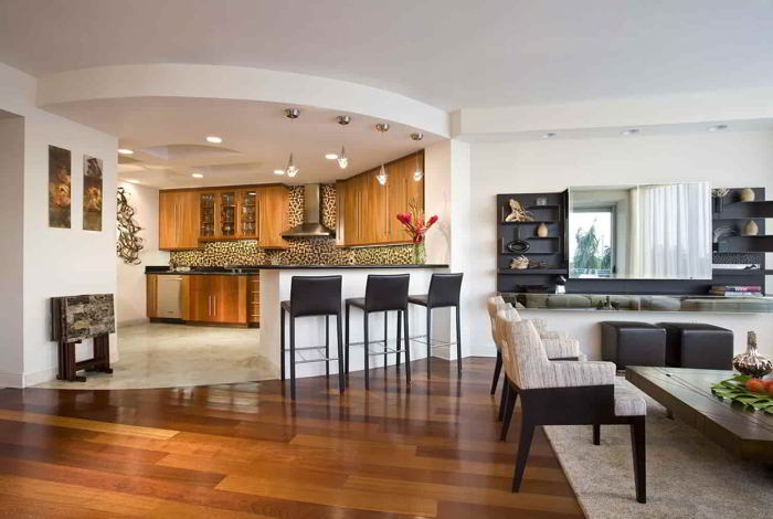 Вдохновляющие идеи дизайна кухни, совмещенной с гостиной handmake