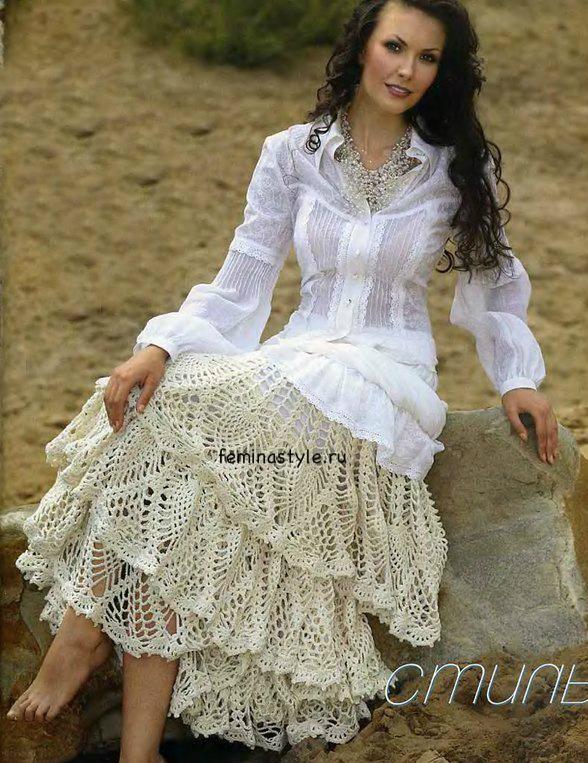 Кружевной декор для юбки