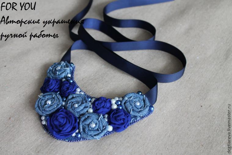 Создаем текстильное колье с розами