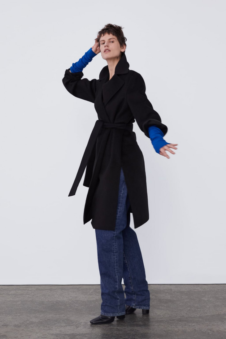 зара пальто с поясом