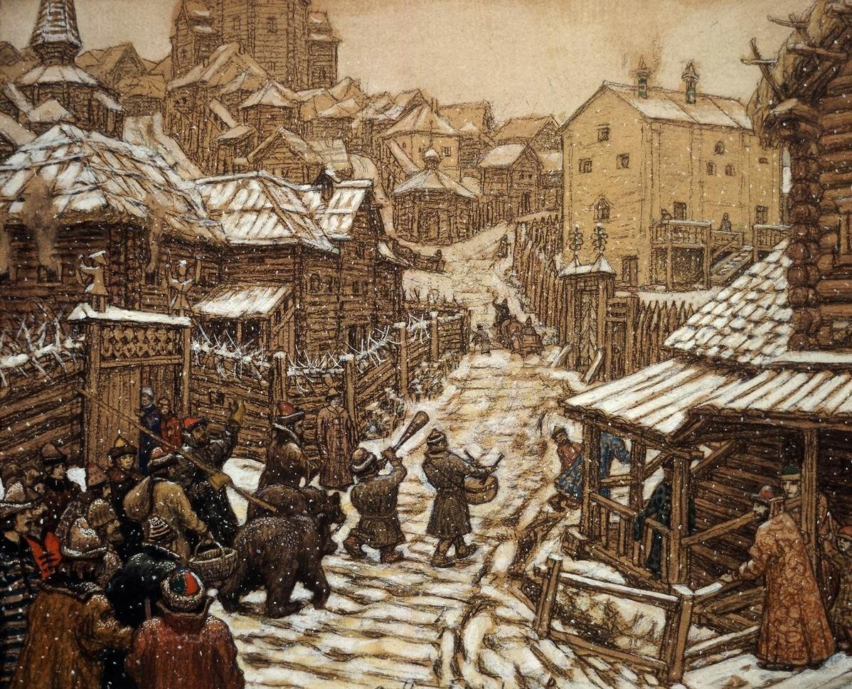 Картина А. Васнецова «Медведчики (развлечение). Старая Москва»