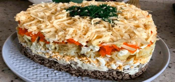 Вкусный салат из вареной печени