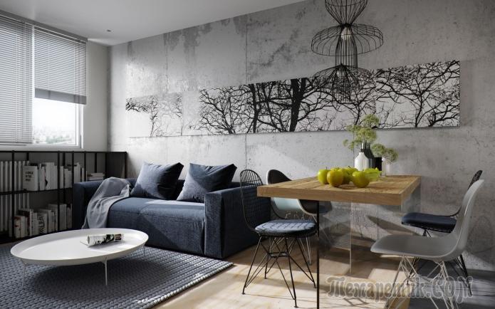 Дизайн маленькой квартиры с спальней за раздвижной перегородкой