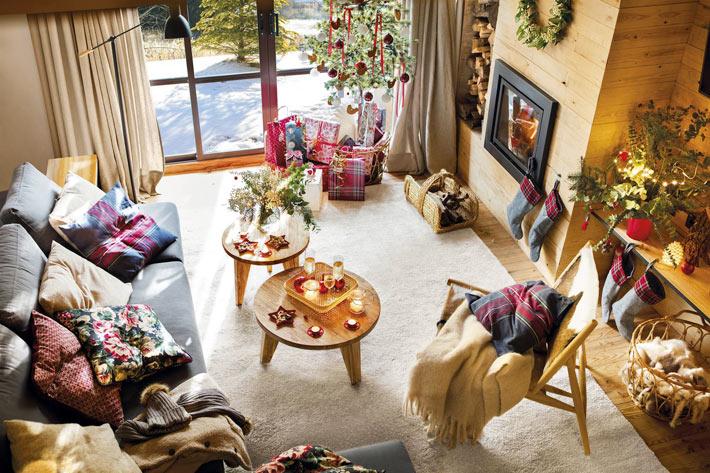 Домашний уют в деревянном новогоднем доме с камином идеи для дома,интерьер и дизайн,новогодний декор