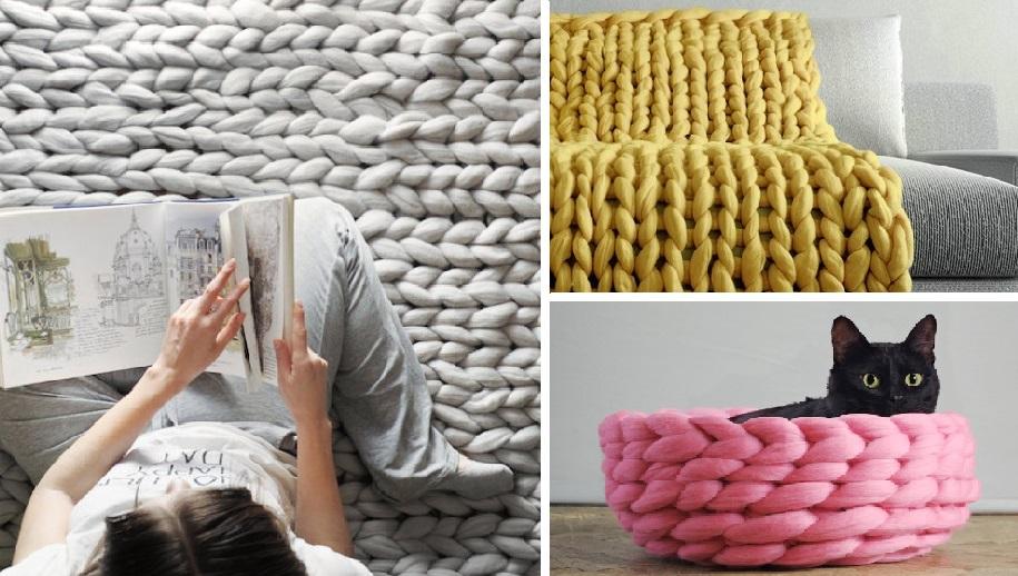 Дизайнер создает одежду и аксессуары очень крупной вязки