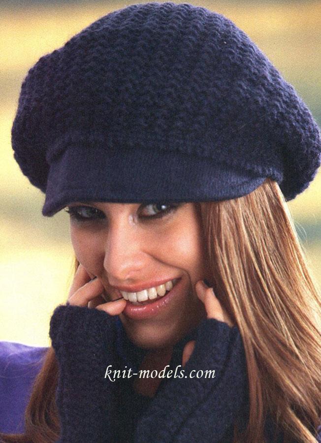 Идеи для вязания женских шапок с козырьком