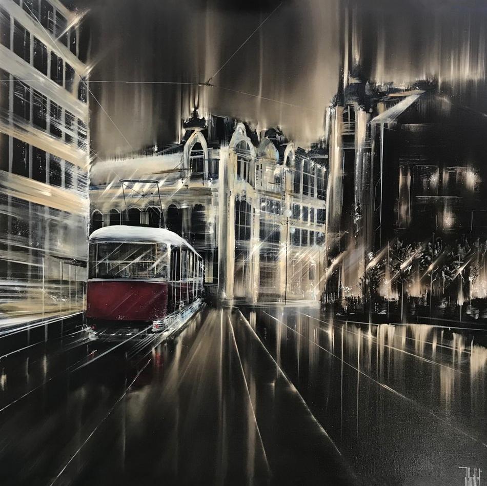 Ночью город похож на Галактику.... Художник Jerome Guillet