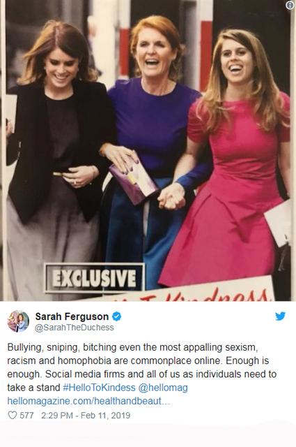 Сара Фергюсон призывает положить конец травле Меган Маркл в соцсетях HellotoKindness