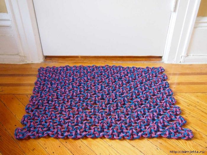 Плетение коврика из веревки