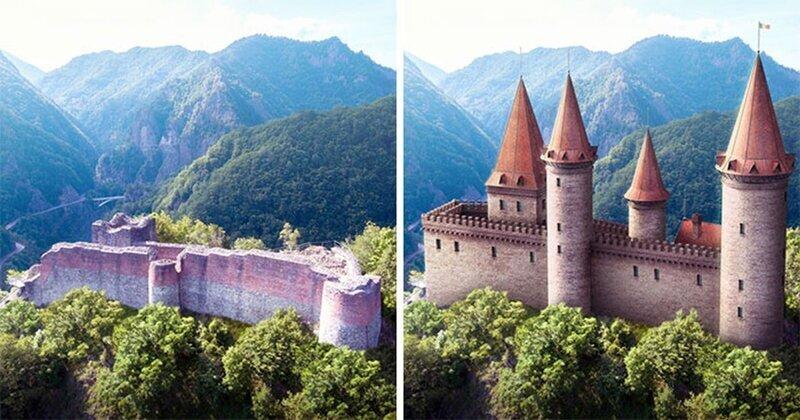 Как выглядели известные европейские замки до того, как превратились в руины