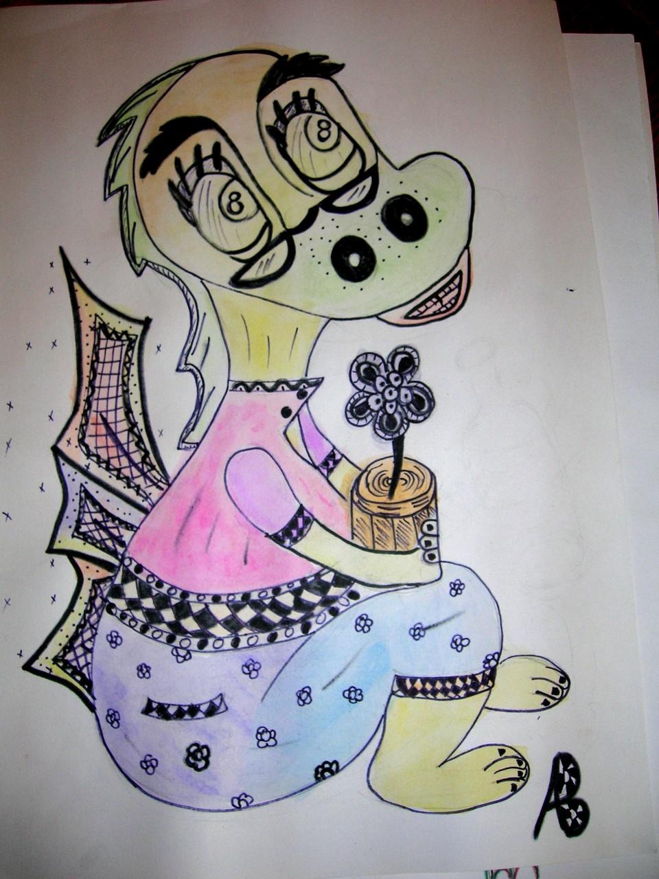 Конкурс. Дракон с очками. Автор Алфёрова Валя, 13 лет