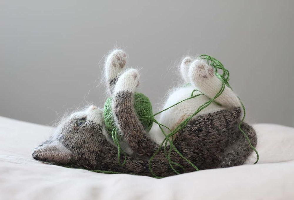 Самые милые котики из всех милых котиков: эти вязаные лапки и круглые животики пощекочат твое сердечко