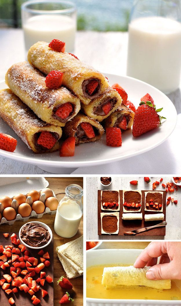 Strawberry Nutella French Toast Roll-Ups: