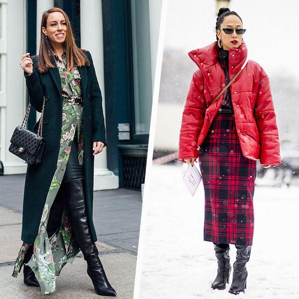 7 идей, как носить платья в холода и оставаться стильной