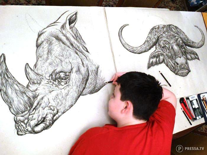 15-летний мальчик создает впечатляющие рисунки животных по памяти