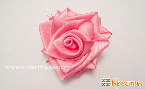 Роза из ленточки пошагово