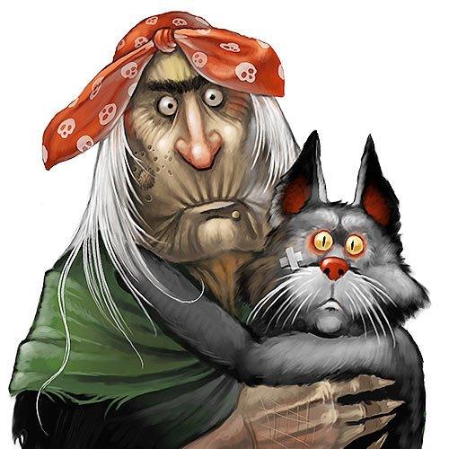 Черный кот и Баба Яга