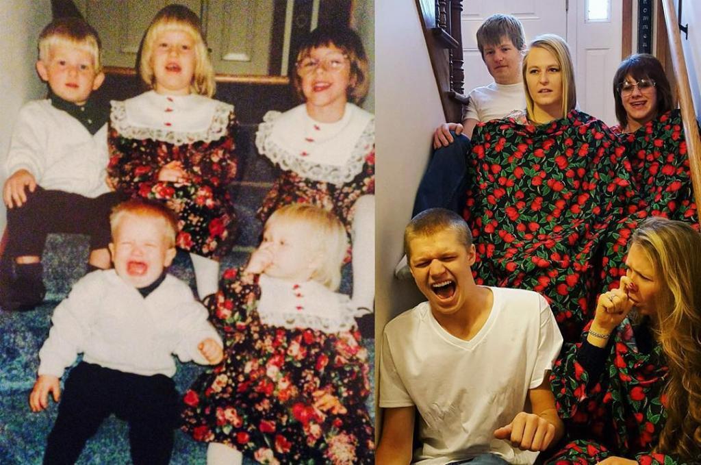 Будучи взрослыми, люди повторили сюжеты своих детских фото