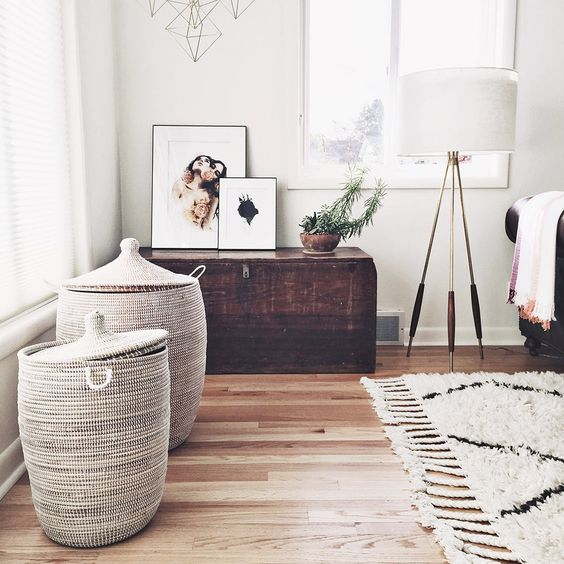 Стильные и функциональные корзины в стиле бохо