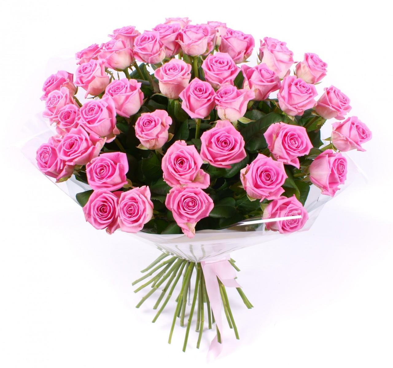 Розовый букет розы, букет для