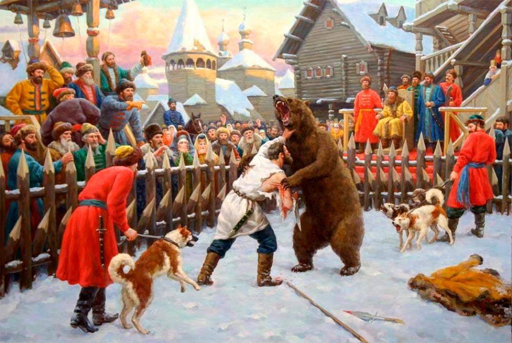 Картина В. Нагорнова «Бой с медведем»