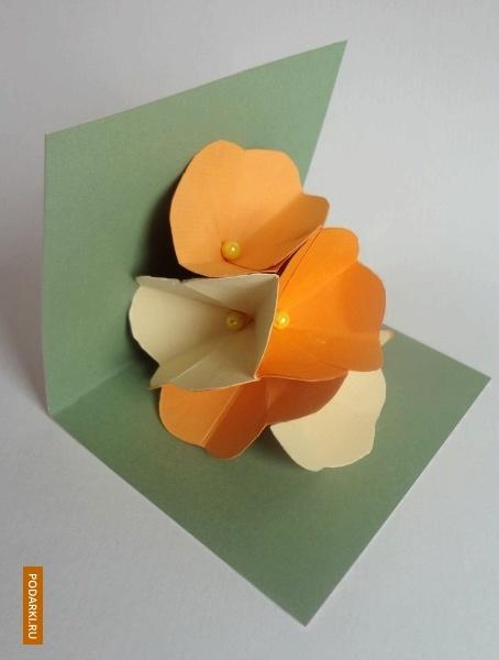 Pop-up открытка сцветами