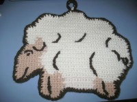 Прихватка «Овечка» (вязание крючком)
