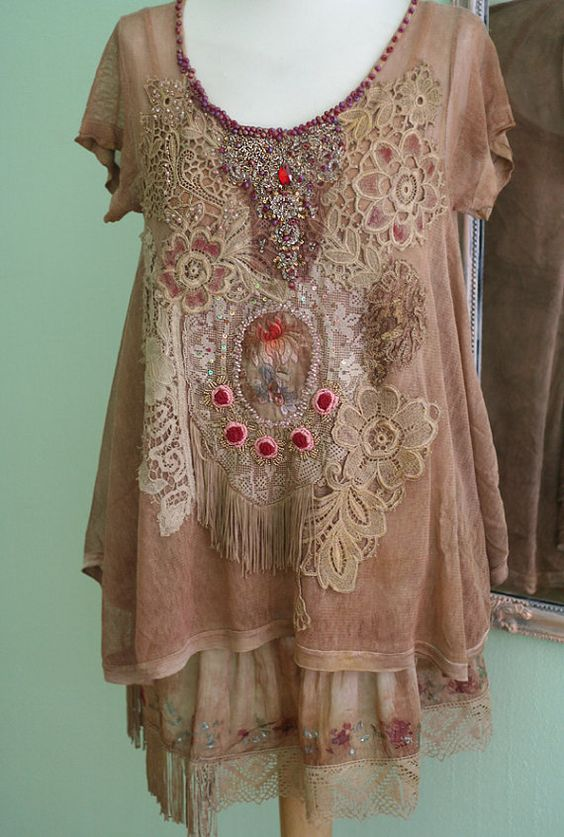 Palazzo bohemian romantic set of tunic and top by FleurBonheur: