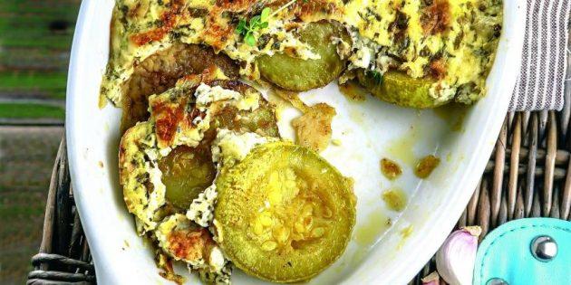 Рецепты: Кабачки, запечённые со сметаной и зеленью