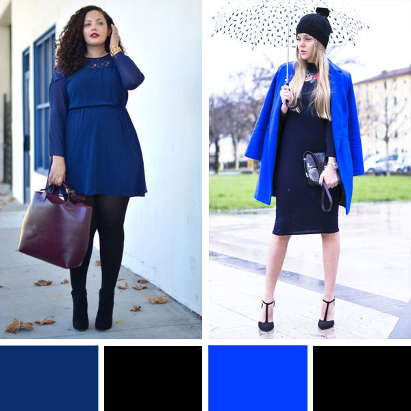 Сочетание синего и черного цвета в одежде