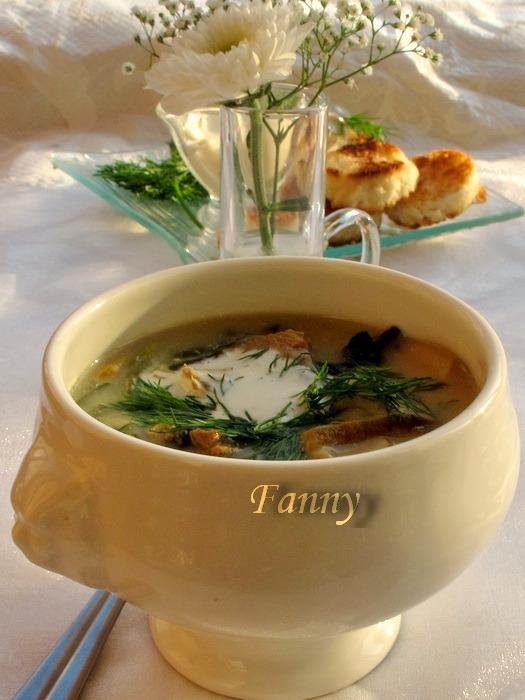Суп с белыми грибами, телятиной и сухариками